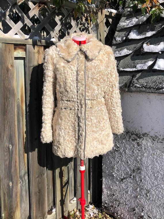 60s vintage curly lamb jacket Mongolian lamb white