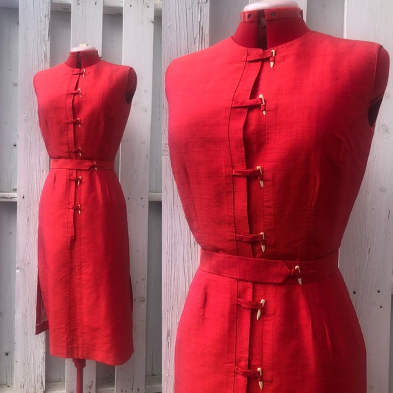 50s wiggle dress fitted red silk 50s dress 60s dre