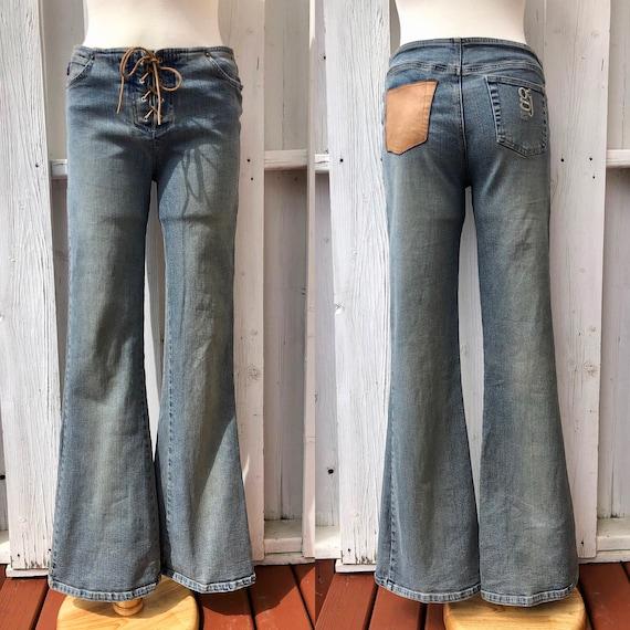 vintage Y2K Guess jeans, lace up jeans, corset det
