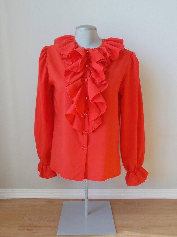 vintage red ruffle blouse romantic spanish gypsy … - image 2