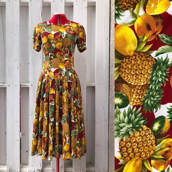 80s tropical fruit print dress kiwi lemon pineappl