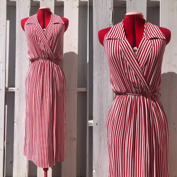 80s striped shirt dress wrap dress size small