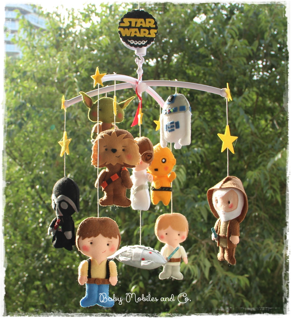 Choose your Star Wars Characters Baby Felt Mobile Hanging Mobile Princess Leia BB-8 Master Yoda Luke Skywalker Chewbacca C3PO Baby Force