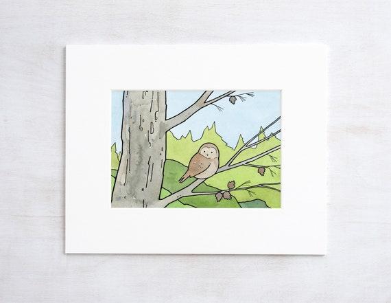 Owl in Pine Art Print, woodland pinecones illustration wall art