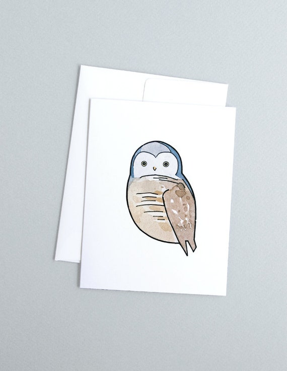 Illustrated Owl Card, ink drawing, cute bird stationary