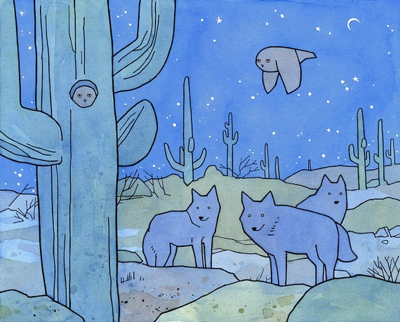Desert Owl Art Print, coyotes, elf owls, cactus illustration