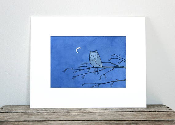 Screech Owl and Moon Print, nature illustration wall art