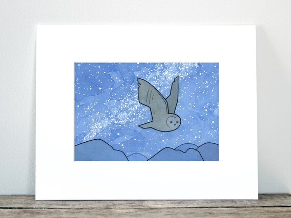 Owl starry night sky art print, whimsical nature nursery illustration