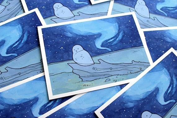Snowy Owl Christmas Card Set, Northern Lights Watercolor Illustration