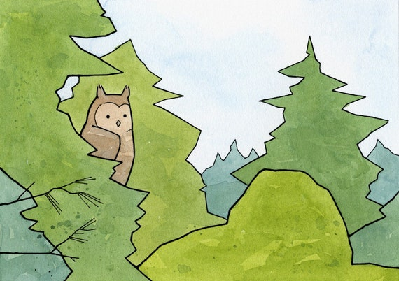 Great Horned Owl Pines Art Print, whimsical nature outdoors art