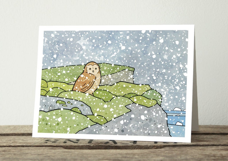 Iceland Owl Christmas Card  Winter Snow Holiday Card image 0