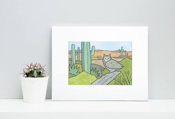 Great Horned Owl Desert Print, Saguaro Cactus, watercolor, ink illustration
