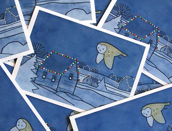 Barn Owl Christmas Card Set - 10 cards