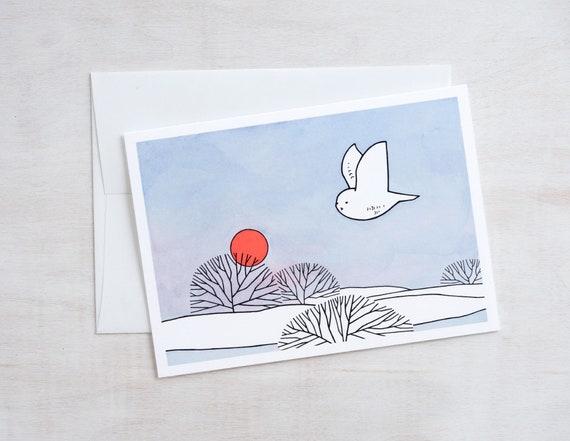 Snowy Owl Winter Sun Christmas Card - Christmas Holiday Greeting Card