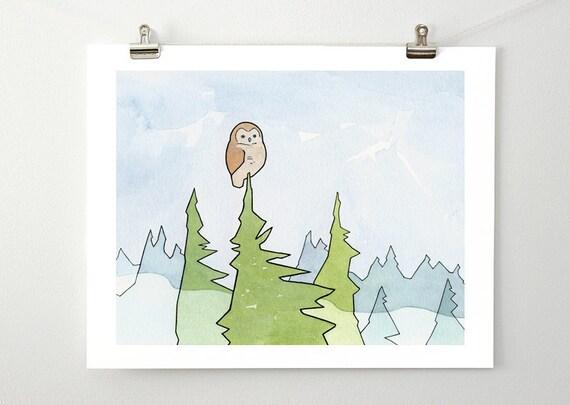 Owl, Fog and Pines Art Print, kids room wall art