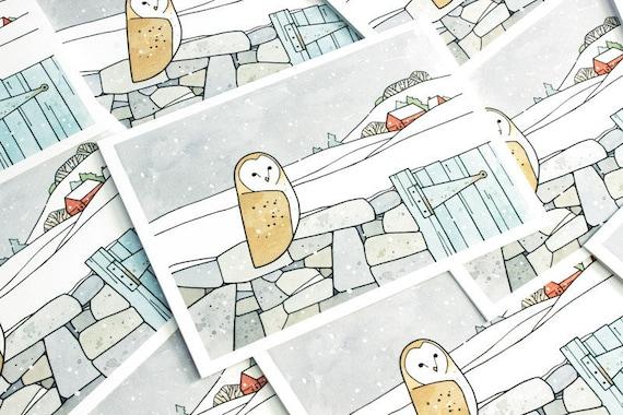 Barn Owl Winter Farm Christmas Card Set - 10 cards
