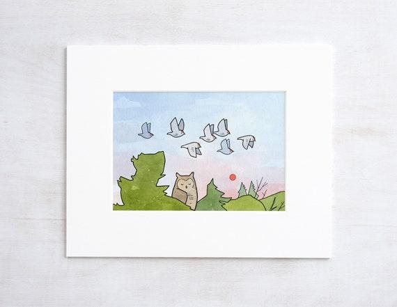 Sleeping Owl Art Print, nature nursery watercolor and ink drawing
