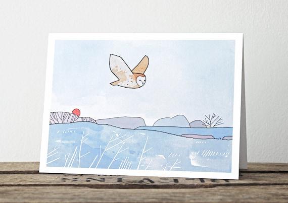Barn Owl Holiday Card - Frosty Winter Christmas Card