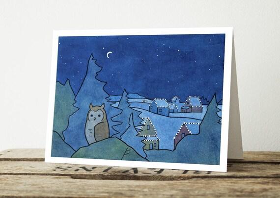 Christmas Night Card - Owl and Lights Holiday Card