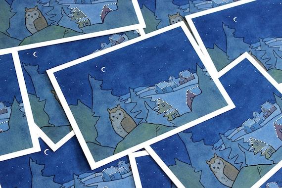 Christmas Night Owl Card Set - 10 illustrated cards