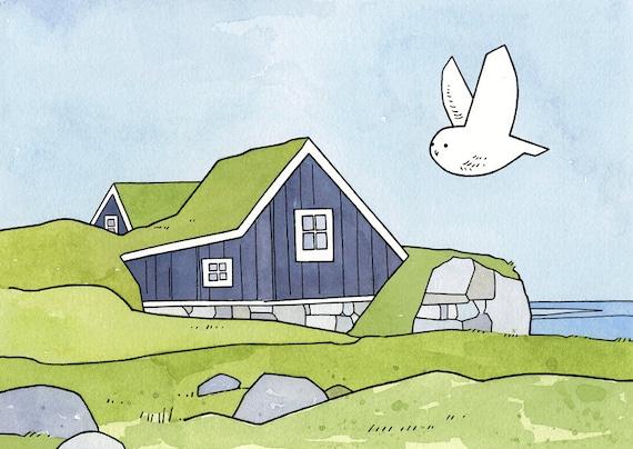 Snowy Owl Art Print, Iceland Cottage Illustration