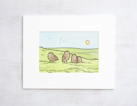 Burrowing Owls Cute Watercolor Illustration Print