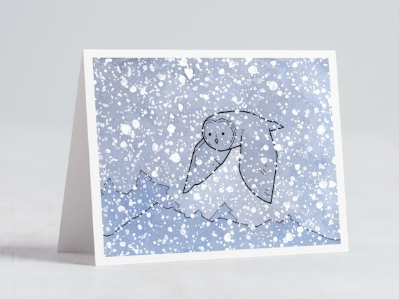 Great Gray Owl Holiday Card, owl drawing note card
