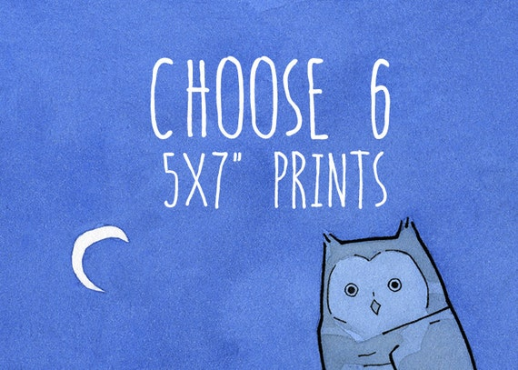 Choose 6 owl art prints