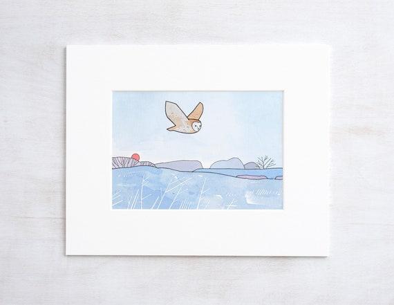 Flying Barn Owl Art Print, Frosty Meadow Winter illustration, nursery wall art