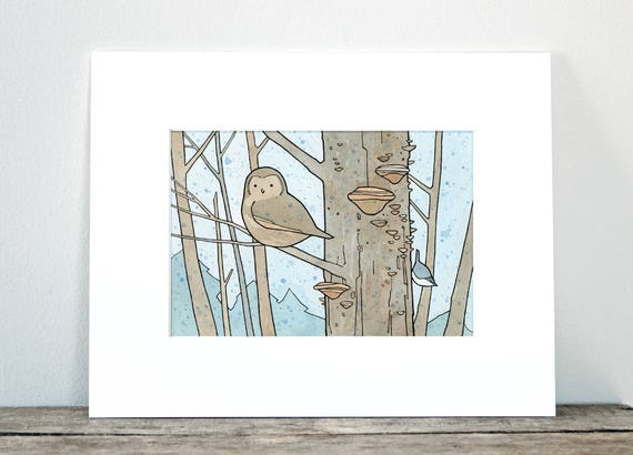Woodland Owl Print - woodland creatures watercolor illustration, nature lover gift