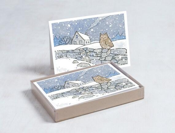Owl Farmhouse Snow Christmas Card Set - 10 cards