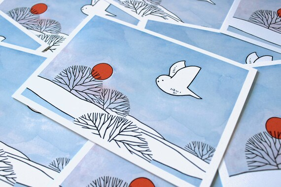 Snowy Owl Watercolor Christmas Card Set - 10 winter snow cards