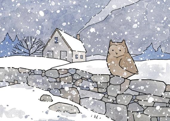 Winter Snow Landscape Print, Owl, Farmhouse Art