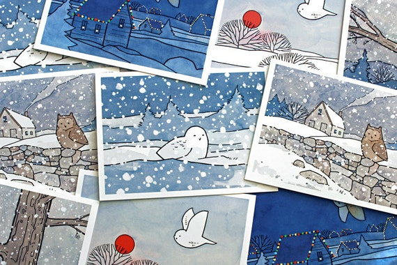 Christmas Owls Mixed Card Set - 10 cards
