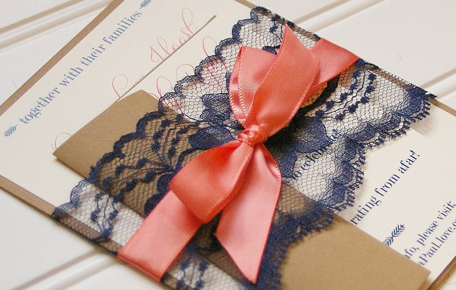 Navy and Coral Wedding Invitations. Lace Invitation. Rustic | Etsy