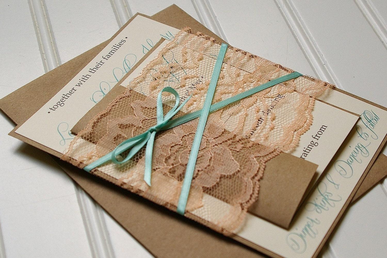 Handmade Rustic Wedding Invitations: Lace Peach And Mint Rustic Wedding Invitations Handmade