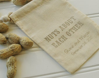 Nut Wedding Favor Bags - Set of 100. Cotton Muslin Drawstring Bags. Pistachios.  Peanuts. Mixed Nuts. Wedding Favors. Nuts About Each Other