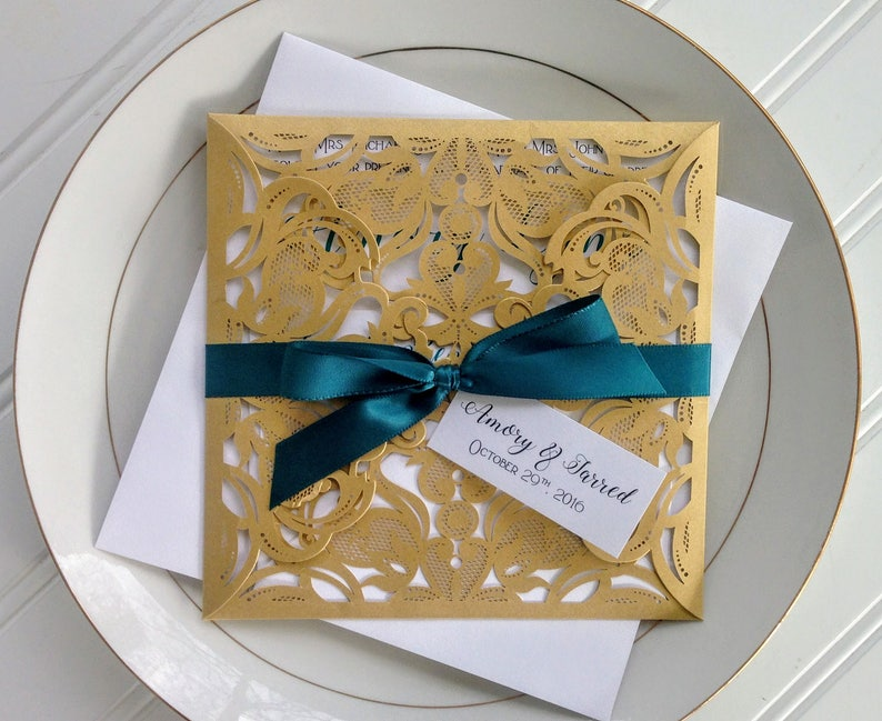 Gold And Teal Laser Cut Wedding Invitations Pocket Style Invitation Lasercut
