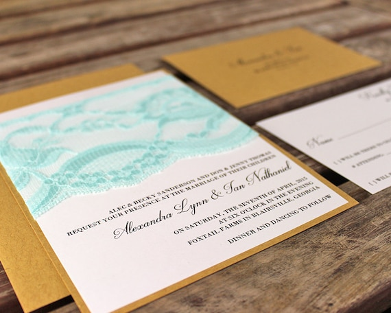 Handmade Rustic Wedding Invitations: Aqua Lace Wedding Invitations Handmade. Rustic Wedding.