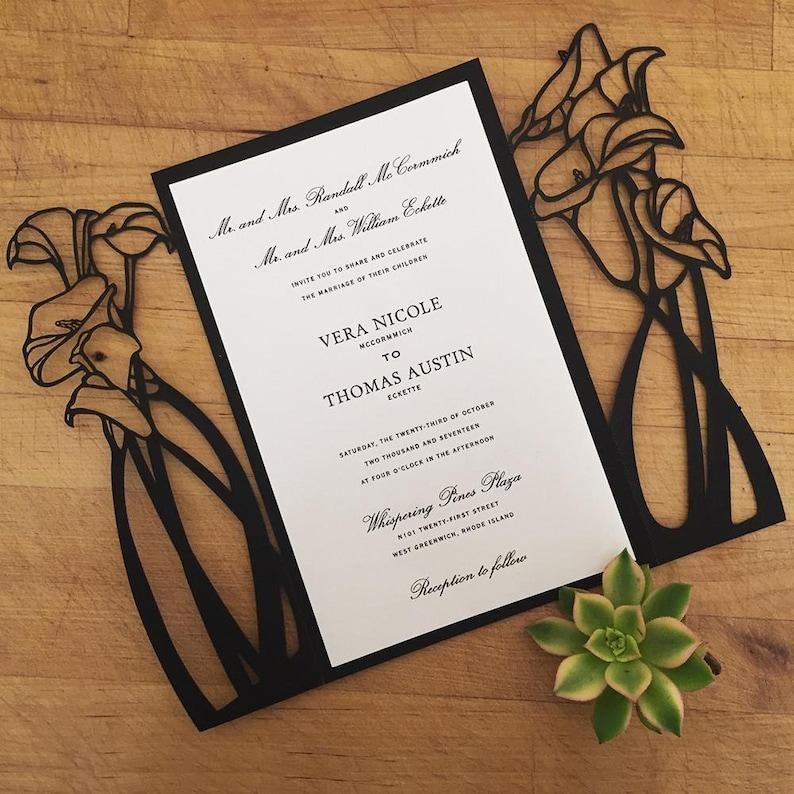Calla Lily Wedding Invitations Laser Cut Wedding Invitation Romantic Wedding Floral Invitation Elegant Wedding Lasercut Formal