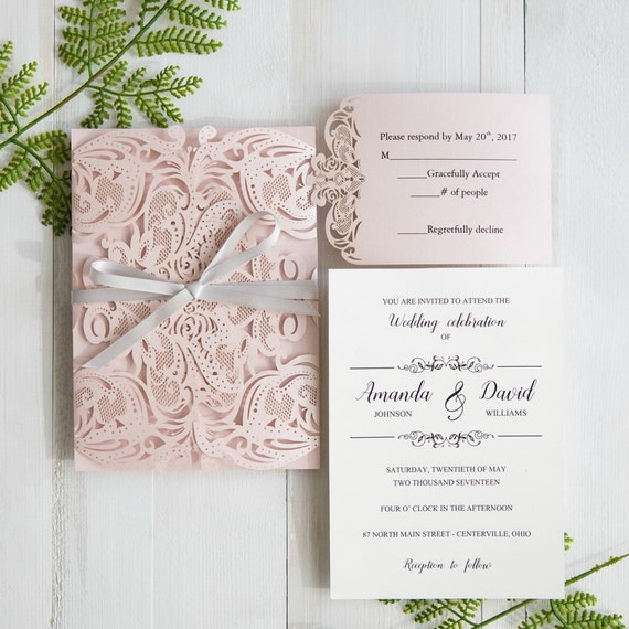 blush pink wedding invitations lasercut wedding invitation etsy