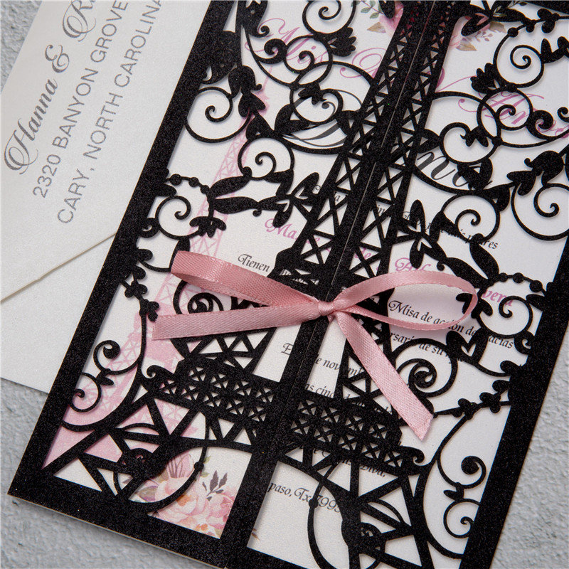 Paris Theme Quinceanera Invitations Glitter Laser Cut Eiffel Tower Elegant Quince Sweet Sixteen Black And Pink Blush