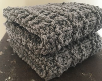Set of 2 Knitted Dishcloths- Gray (100% Pure USA Grown Cotton)