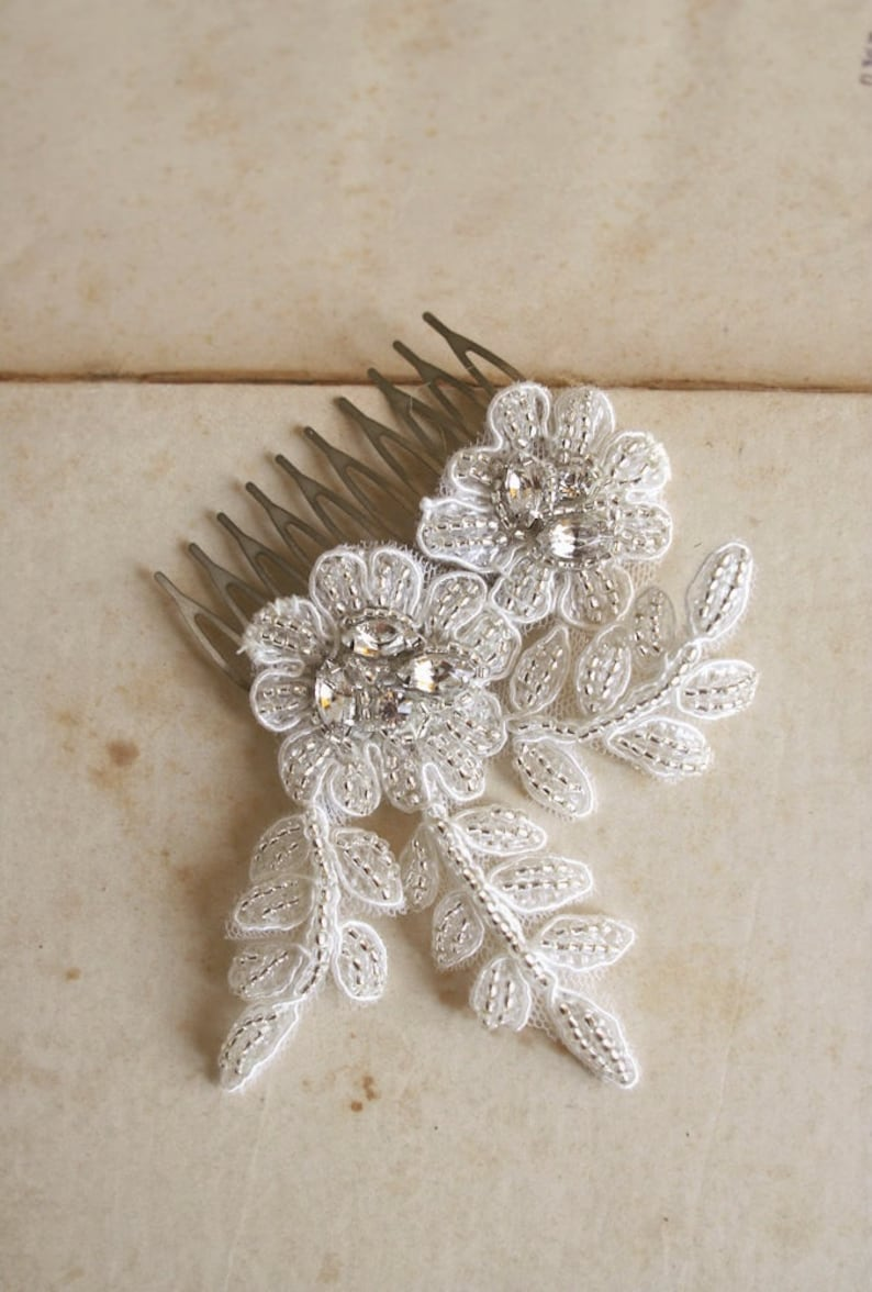 Silver Crystal Lace Bridal Comb Small Floral Comb Beaded Lace Bridal Accessory SALE Lace Headpiece Wedding Hairpiece