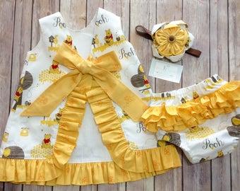 Girls Pinafore Dress Winnie the Pooh Ruffled Pinafore Outfit First Birthday Dress with Ruffled Bloomers Party Dress Baby Girls Clothing