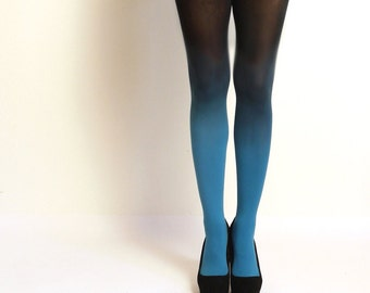 cb1c55624c9b7 Ombre Tights gradient tights Hand dyed Teal and black