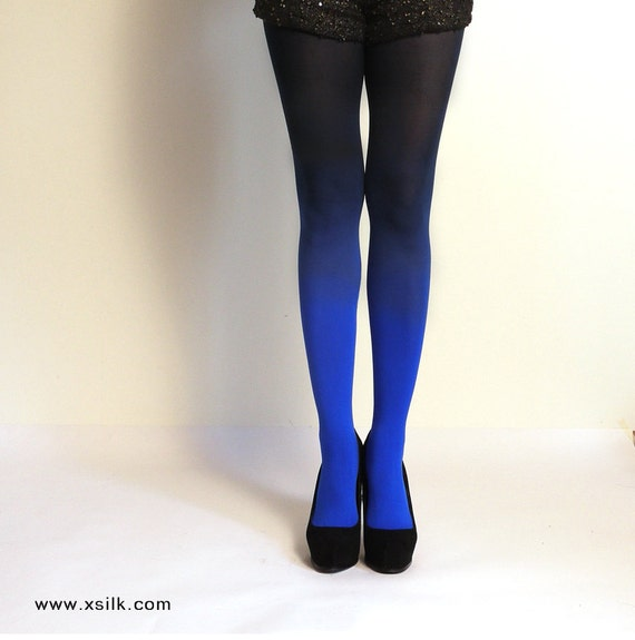 "Ombre Tights.  Blue/Black    As Seen On ""Today Show"" by Etsy"