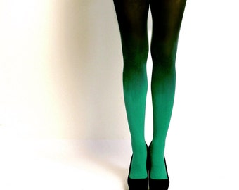 Ombre tights Emerald Green hand dyed opaque tights.