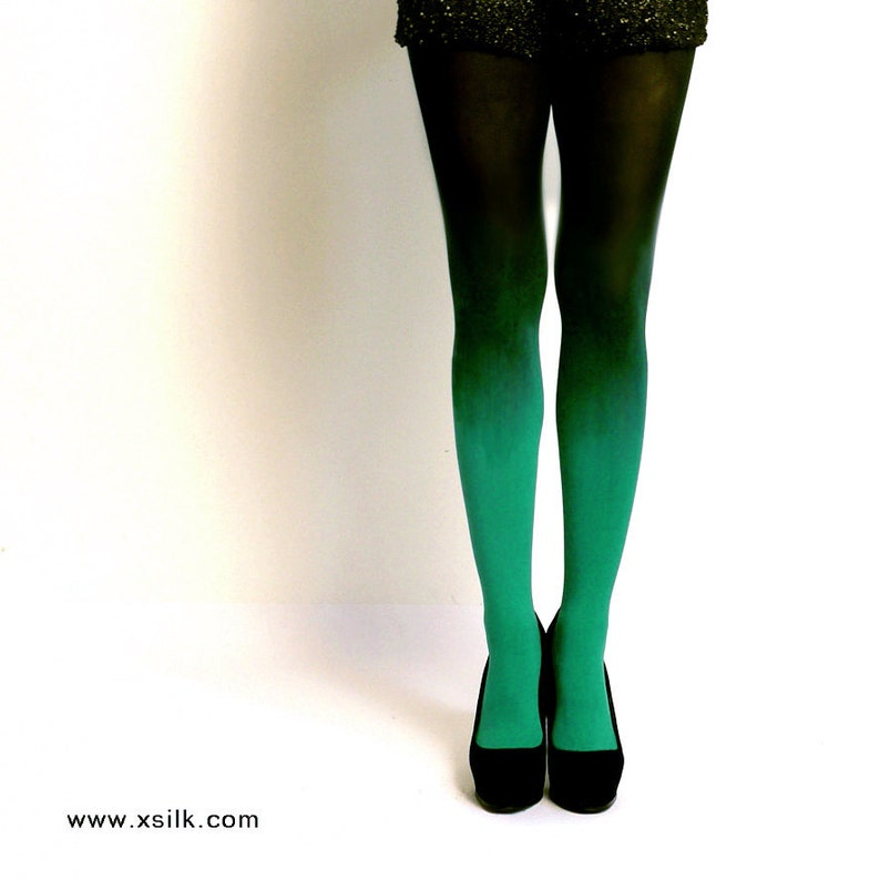 a66d7753b718d Ombre tights Emerald Green hand dyed opaque tights. | Etsy