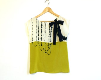 hand painted SILK top.  INK BEADS on cream and chartreuse.
